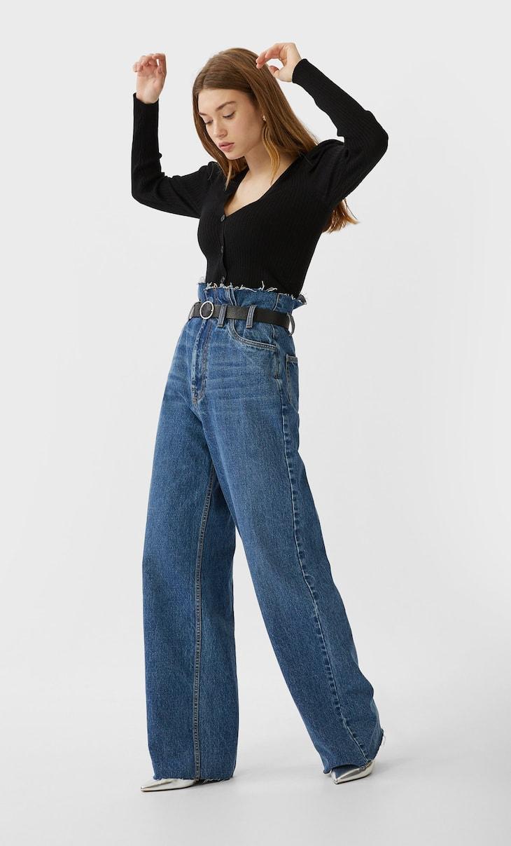 Paperbag-Jeans mit weitem Bein