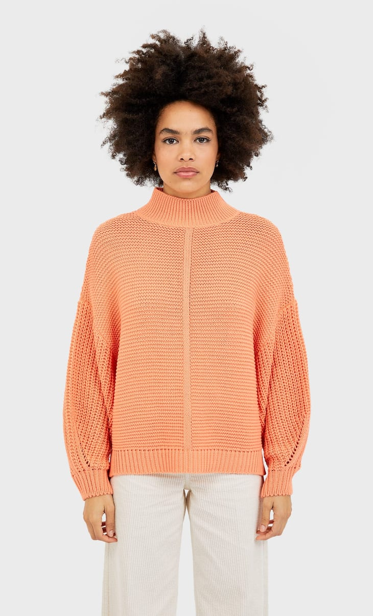 Puffy sleeve sweater