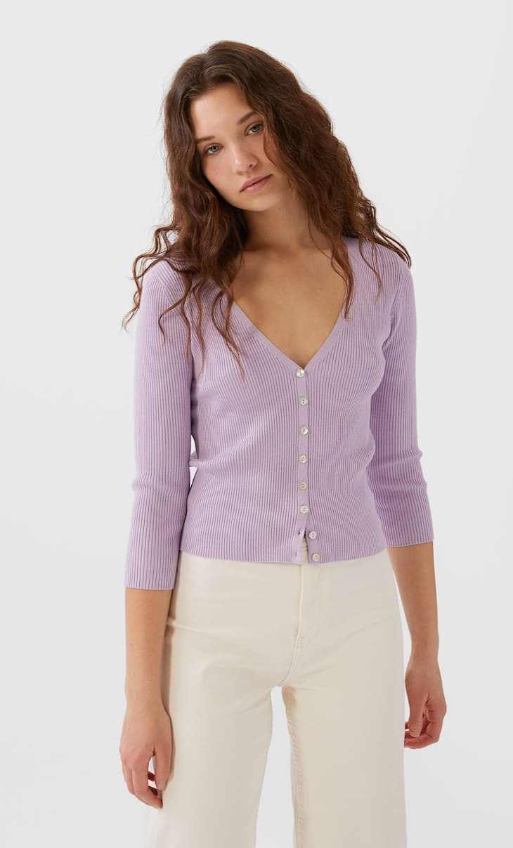 Cardigan with 3/4 length sleeves