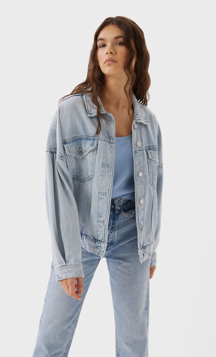 Denim jacket with puff sleeves