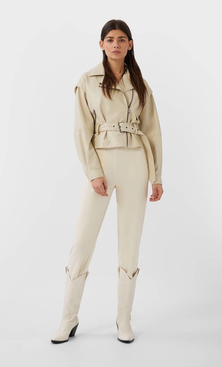 Байкерская куртка из искусственной кожи в стиле 80-х