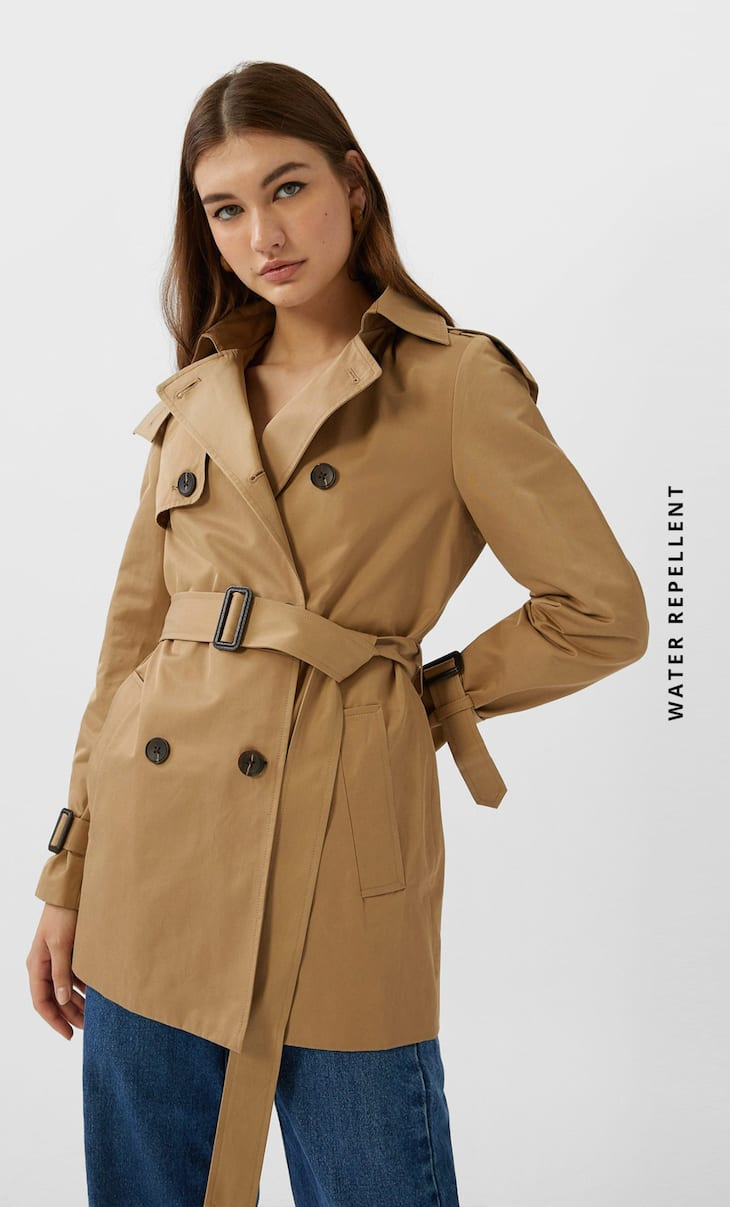 Hooded water-repellent trench coat