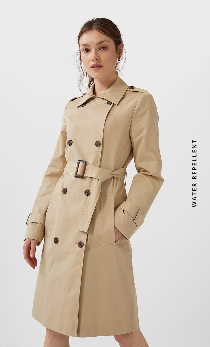 Basic water-repellent trench coat