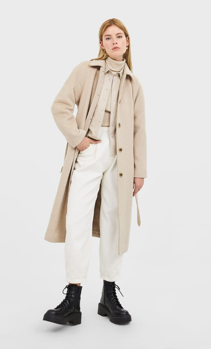 Synthetic wool coat with belt
