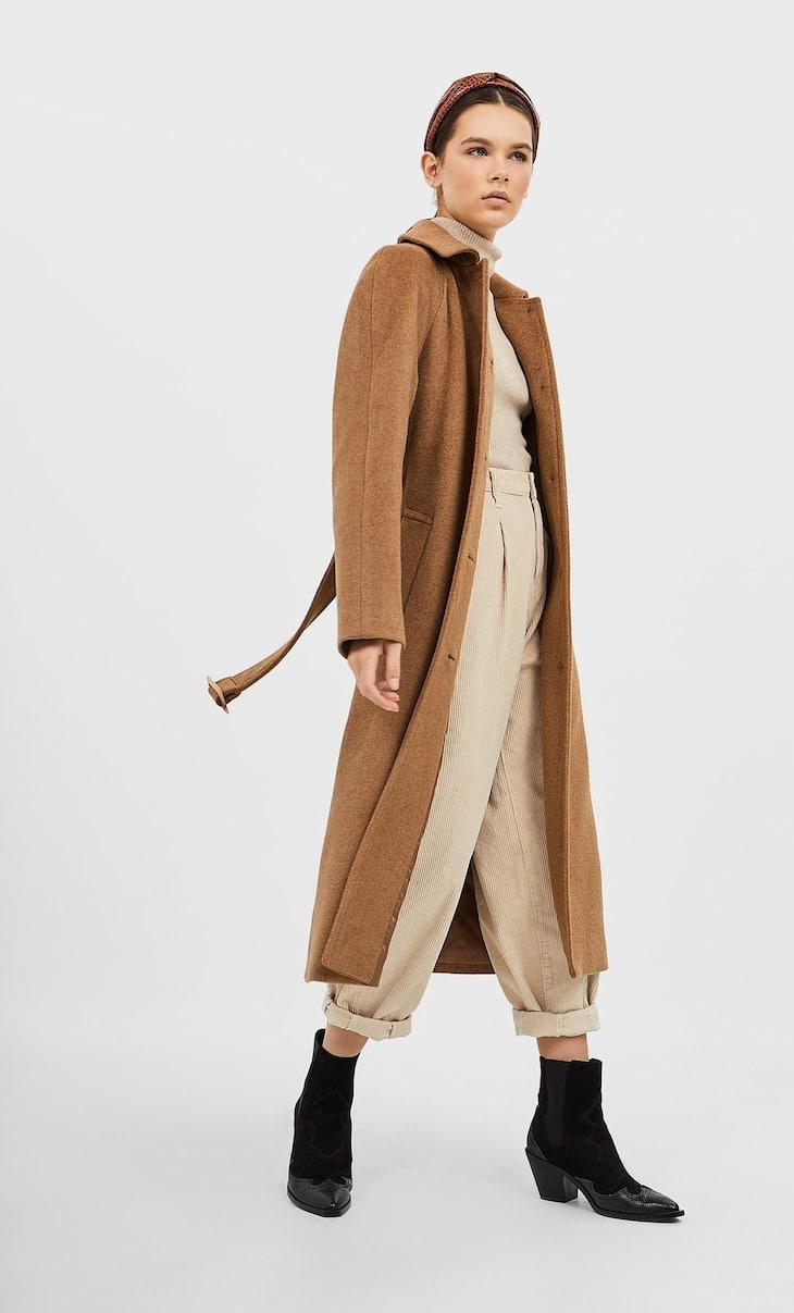 Palton din stofă cu cordon