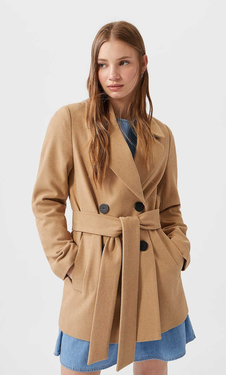 Short synthetic wool coat
