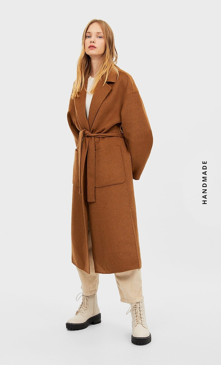 Handcrafted synthetic wool coat