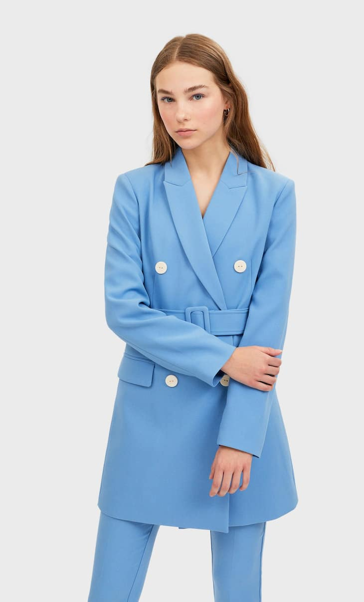 Blazer dress with belt