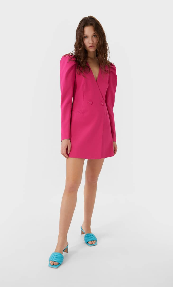 Blazer dress with puff sleeves
