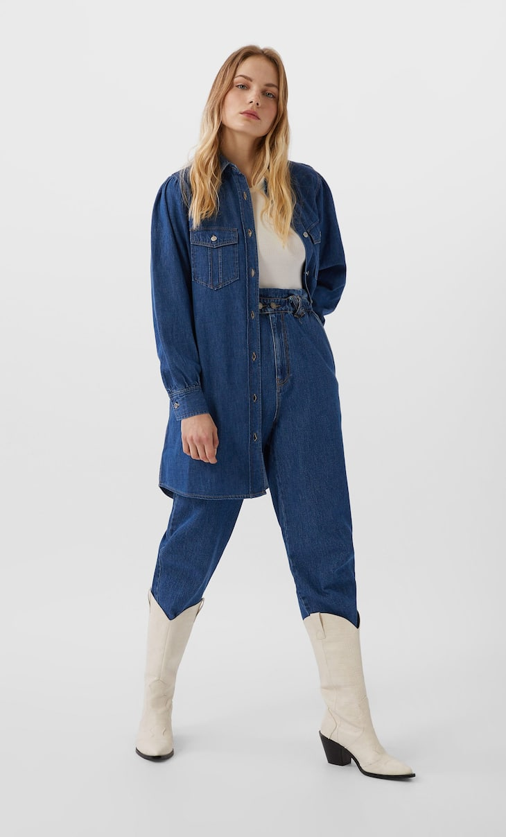 Long denim utility shirt