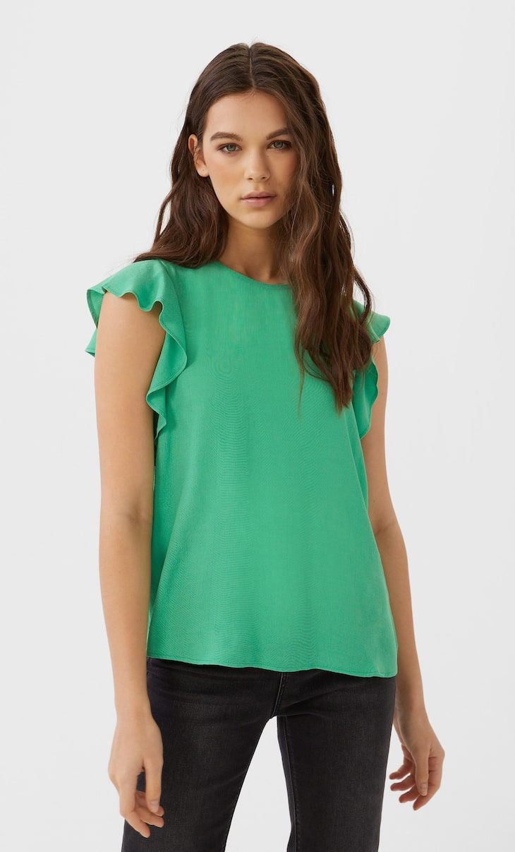 T-shirt with short ruffled sleeves