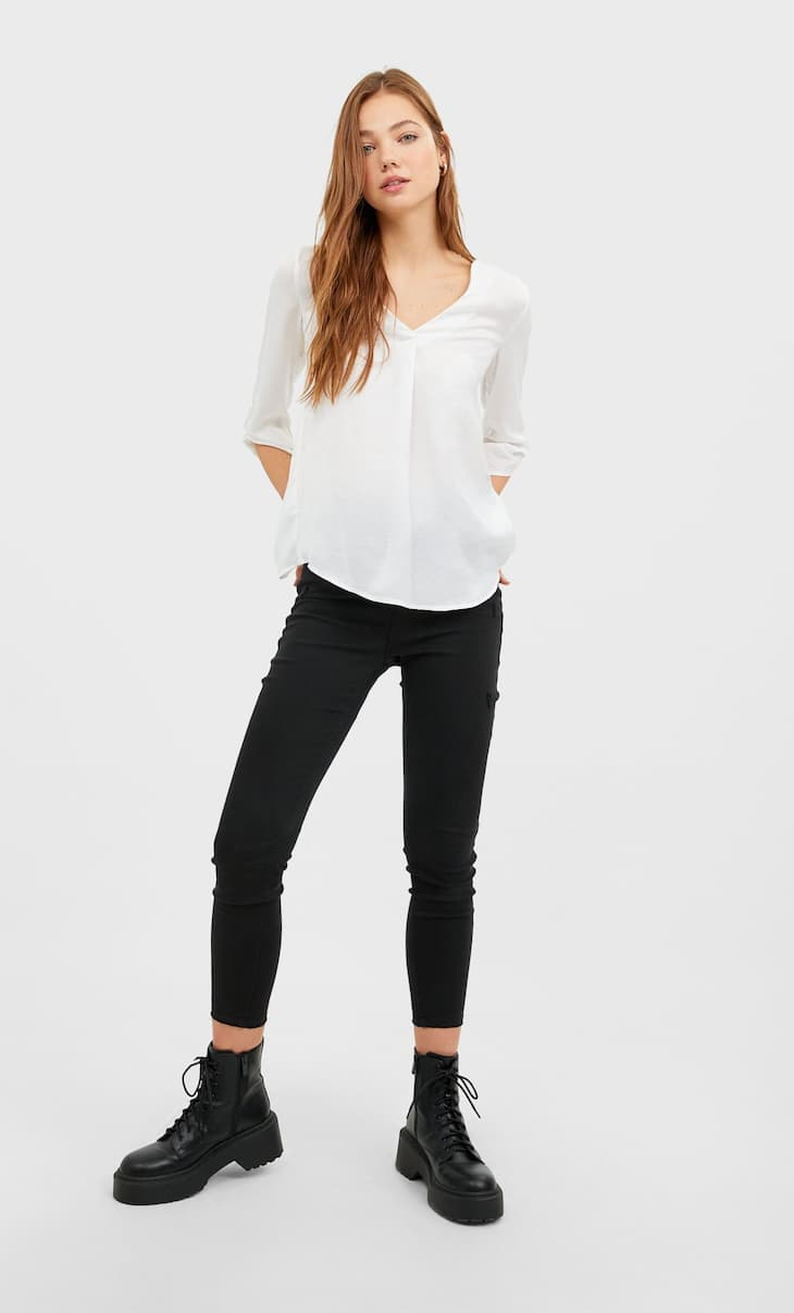 V neck long shirt