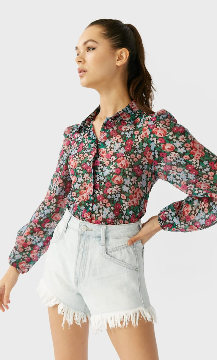 Printed puff sleeve shirt