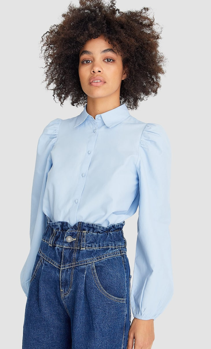 Рубашка из поплина с объемными рукавами