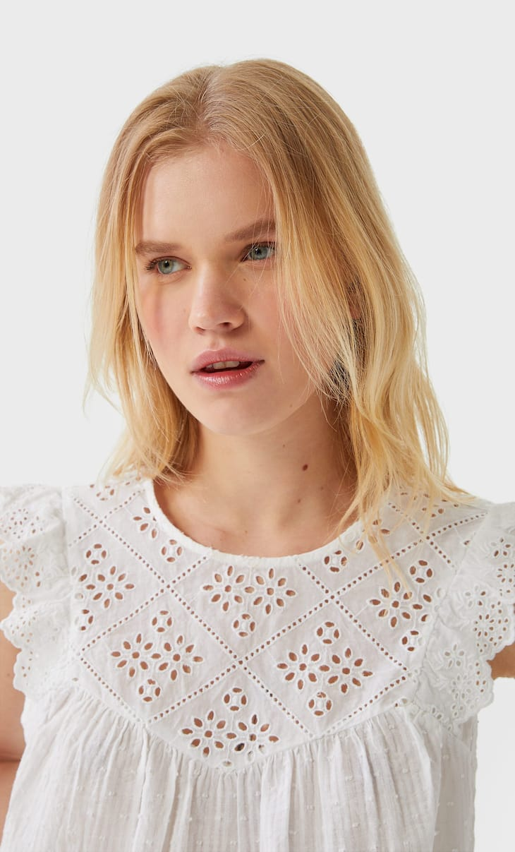 Ruffled Swiss embroidery top