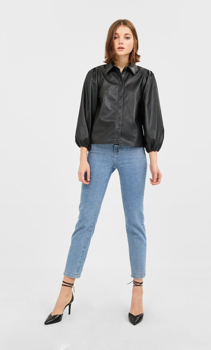 Faux leather shirt with puff sleeves