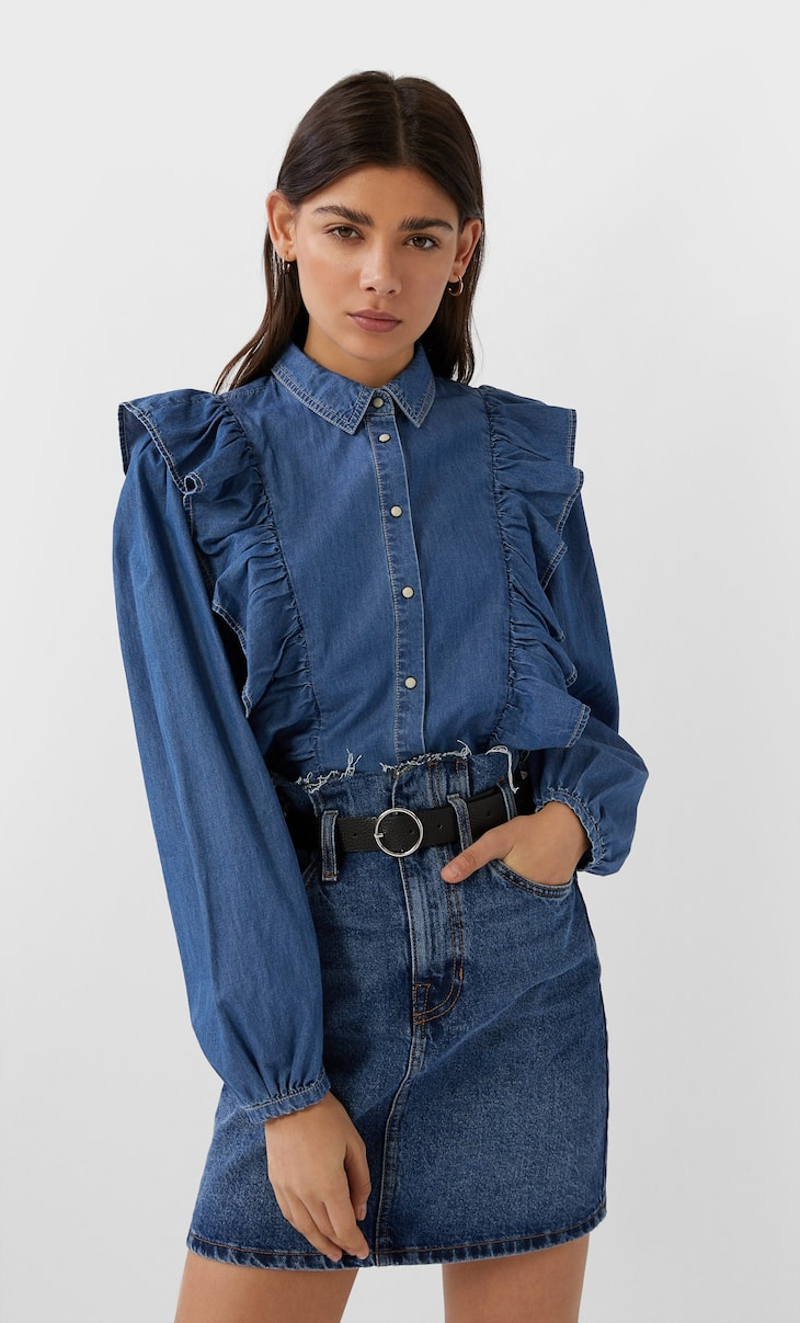 Denim blouse met volant