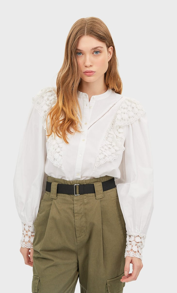Shirt with crochet ruffles