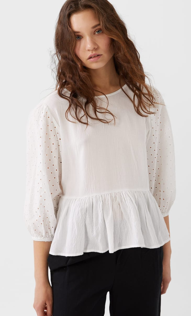 Blouse with Swiss-embroidered sleeves