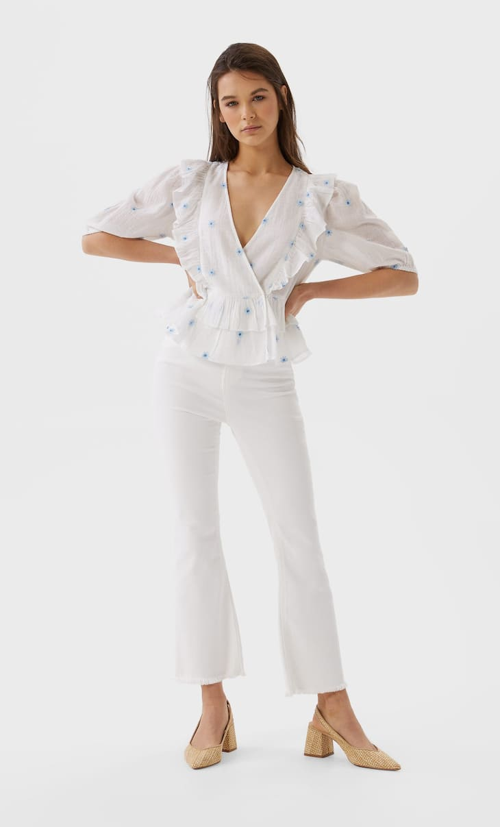 Embroidered shirt with ruffles
