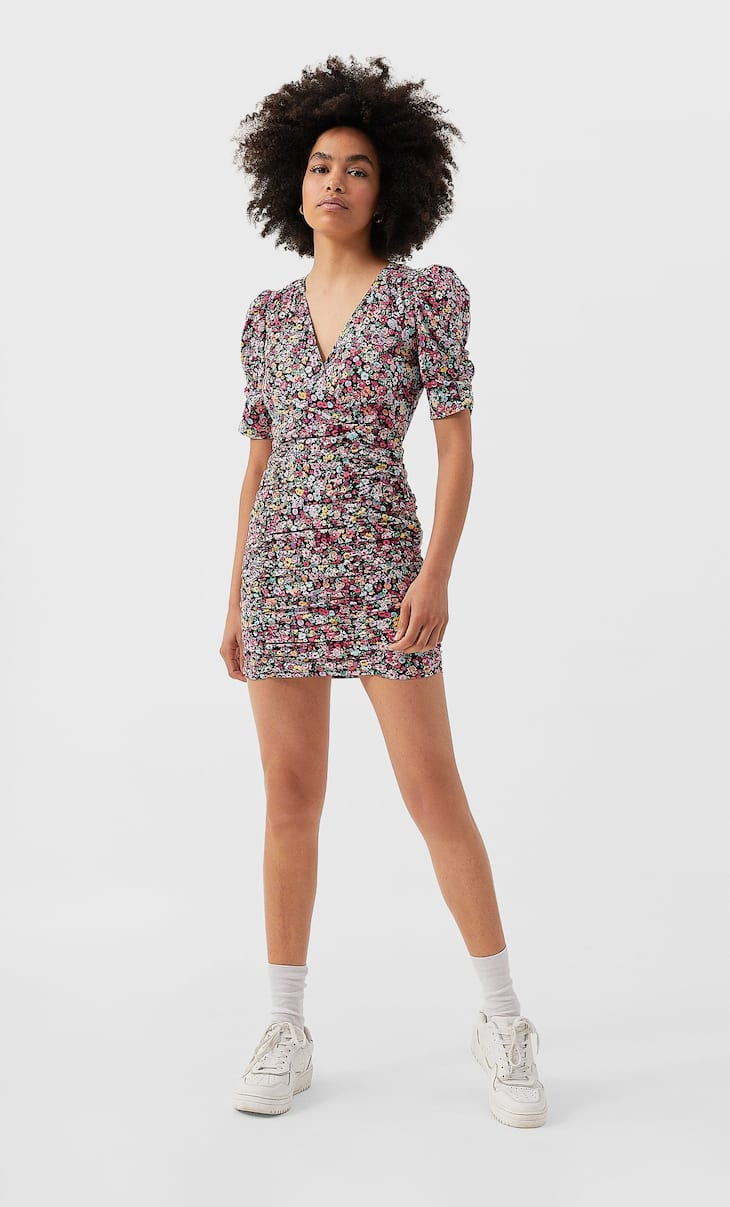 Shirred mini dress