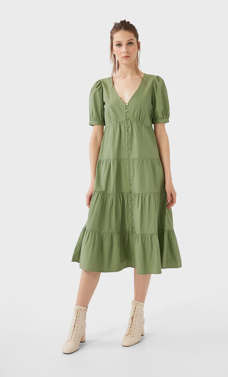 Long buttoned poplin dress