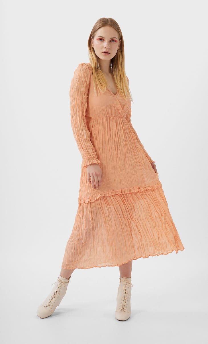Long creased-effect dress