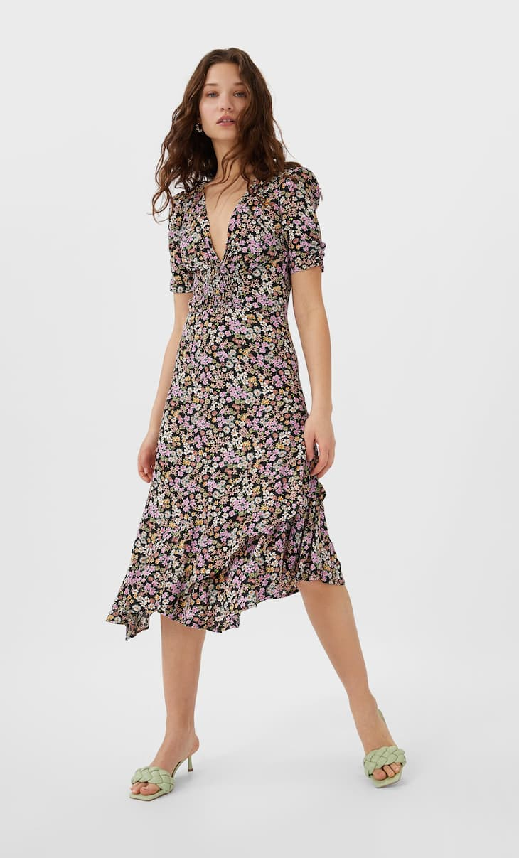 Ruffled floral print midi dress