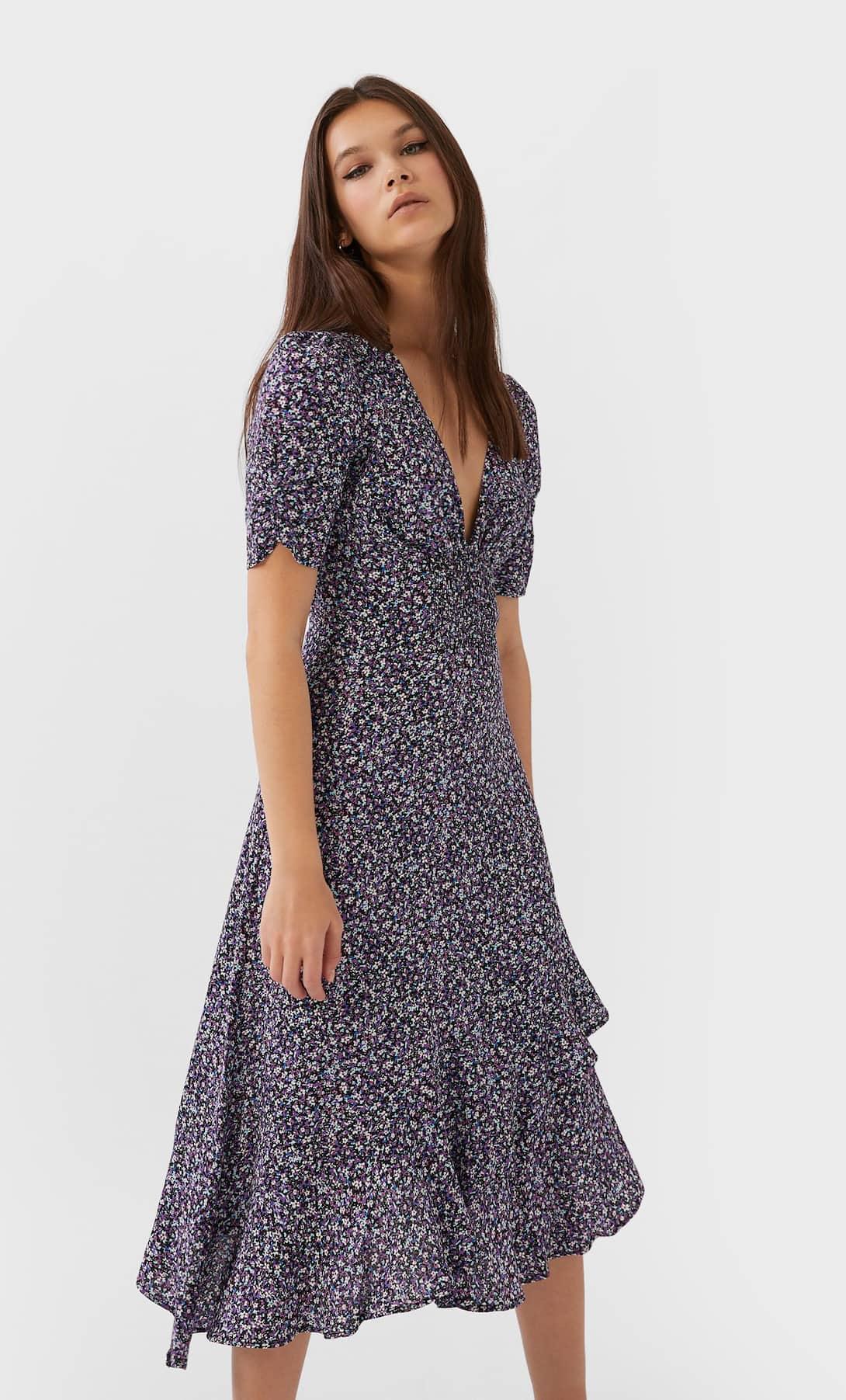 STR_Ruffled floral print midi dress_1 лучшие платья на лето
