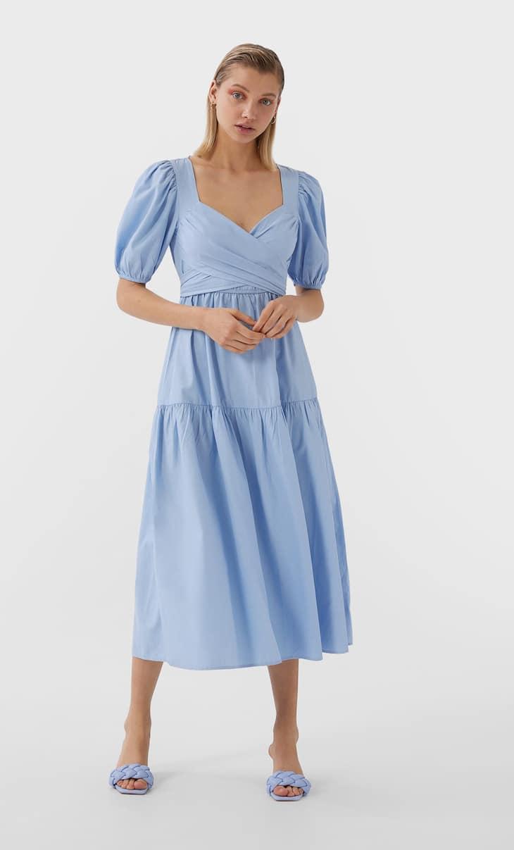 Vestido largo popelin