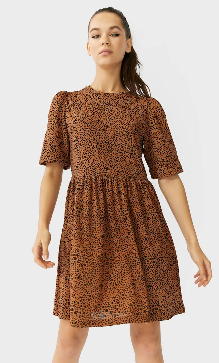 Printed short dress with puff sleeves