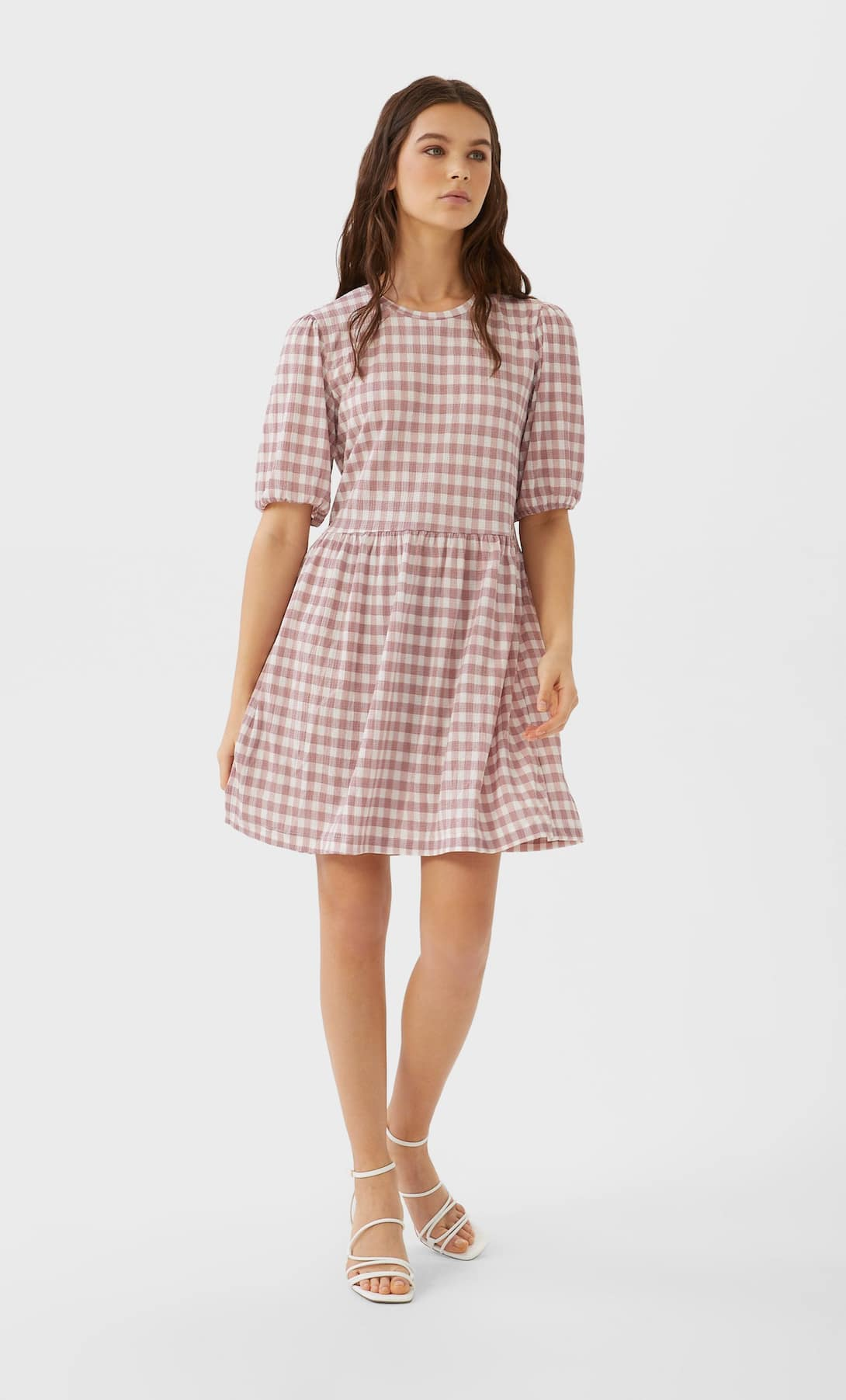 STR_Printed short dress with puff sleeves_2