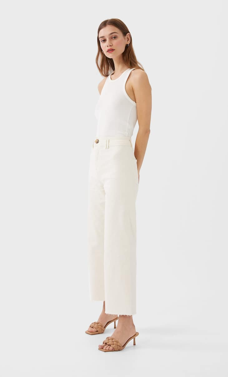 Cropped ribbed racerback