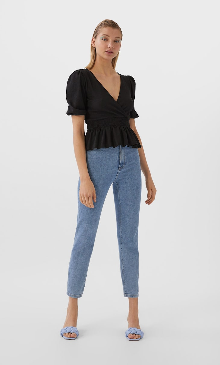 V-neck wrap top with shirring