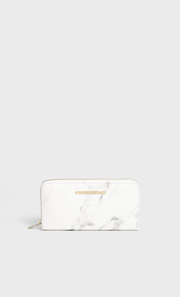 Marble effect zipped wallet