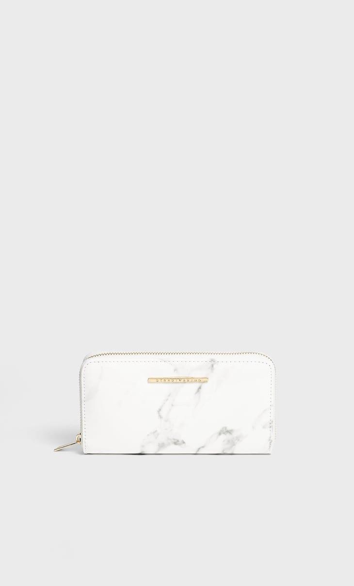 Brieftasche in Marmoroptik mit Reißverschluss