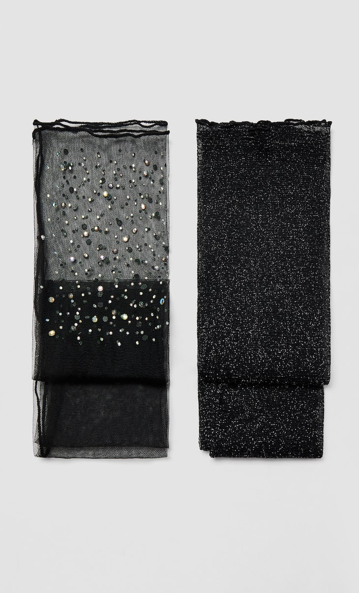 2-pack of metallic thread socks with rhinestones