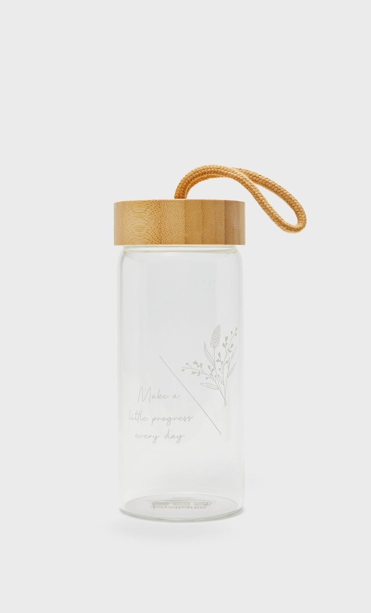 Glass bottle with wooden details