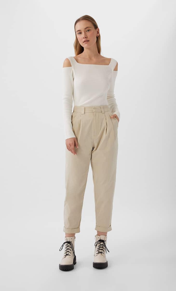 Pantalón ancho pinzas básico