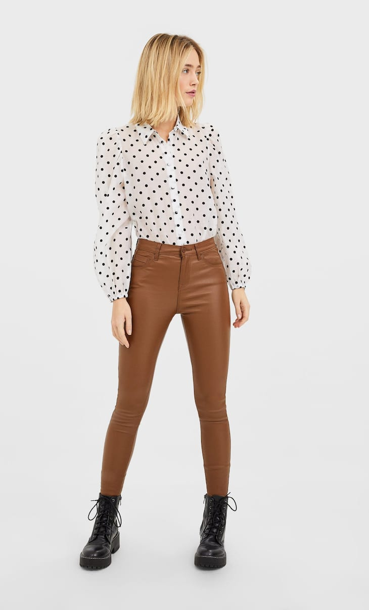 Coated high waist trousers