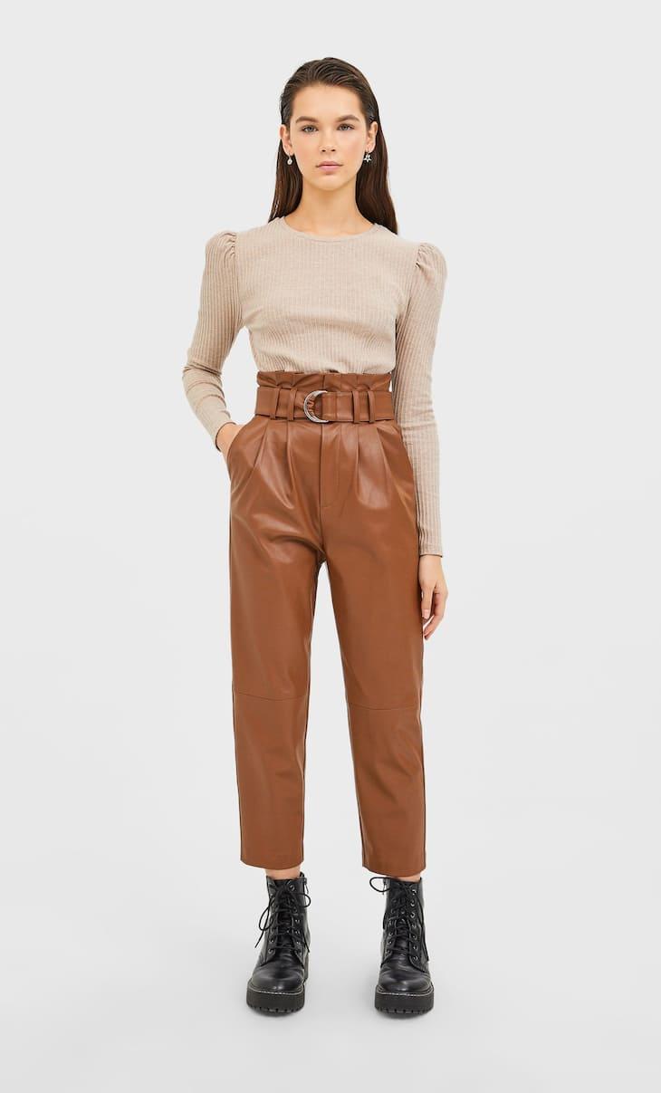 Spodnie paperbag ze sztucznej skóry