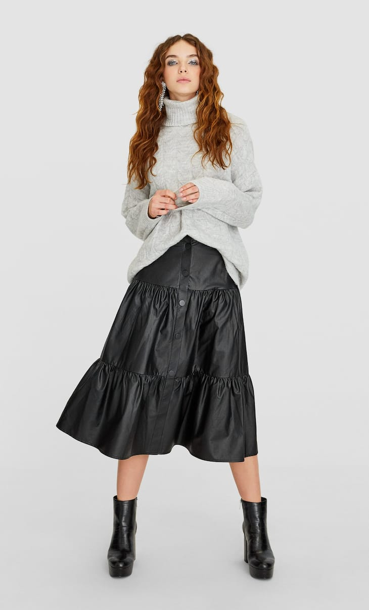 Faux leather midi skirt with seam details