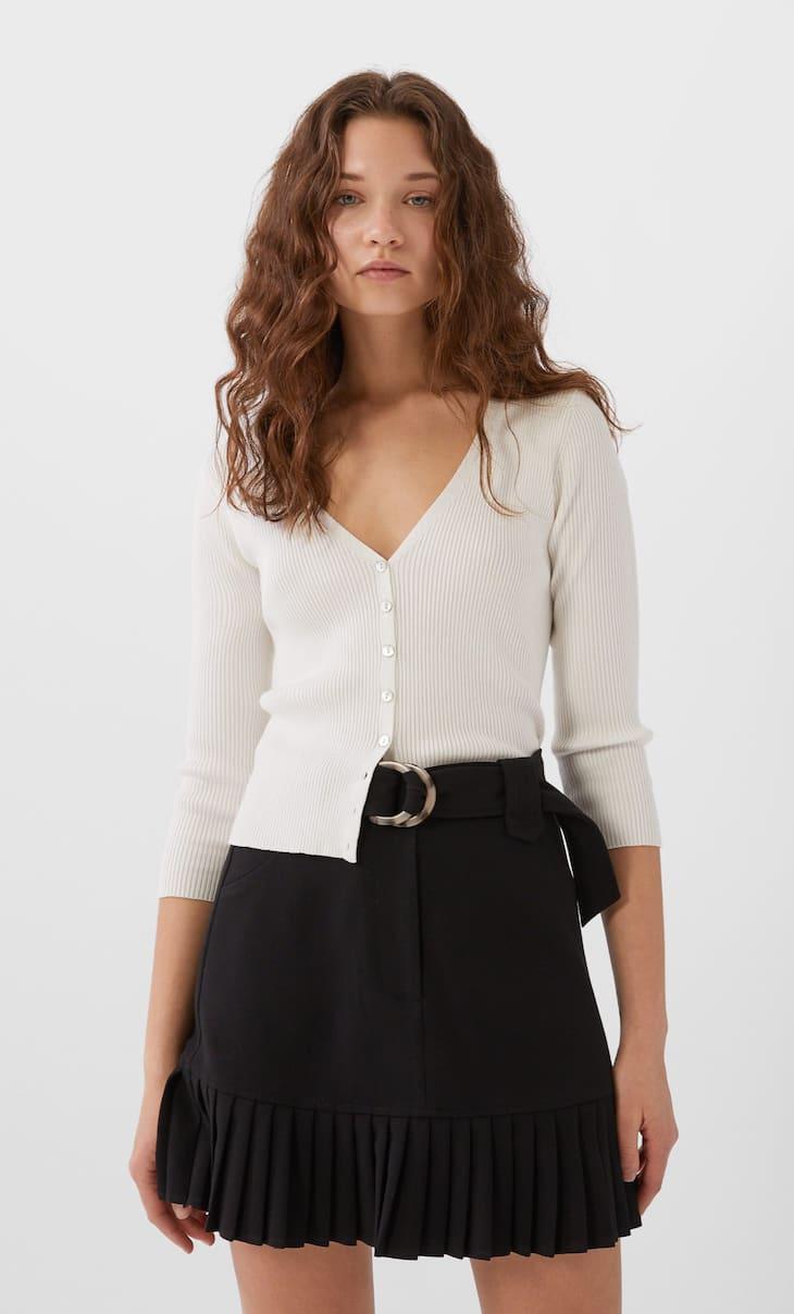 Falda mini bajo plisado
