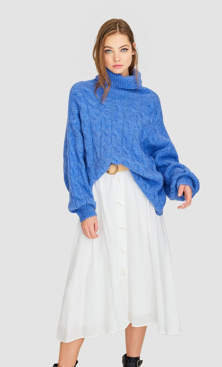 Rustic button-down skirt with belt