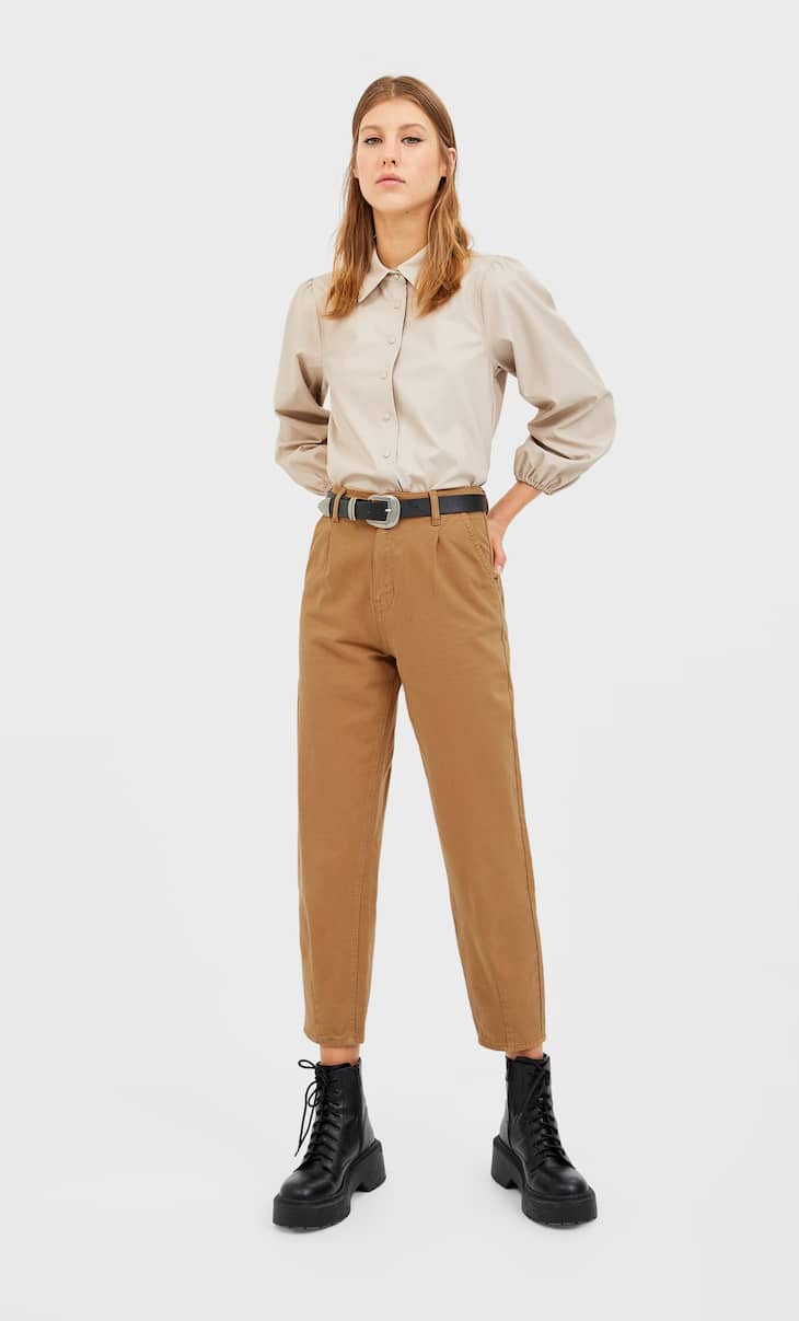 Twill slouchy trousers