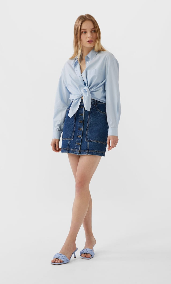 Button-up denim skirt