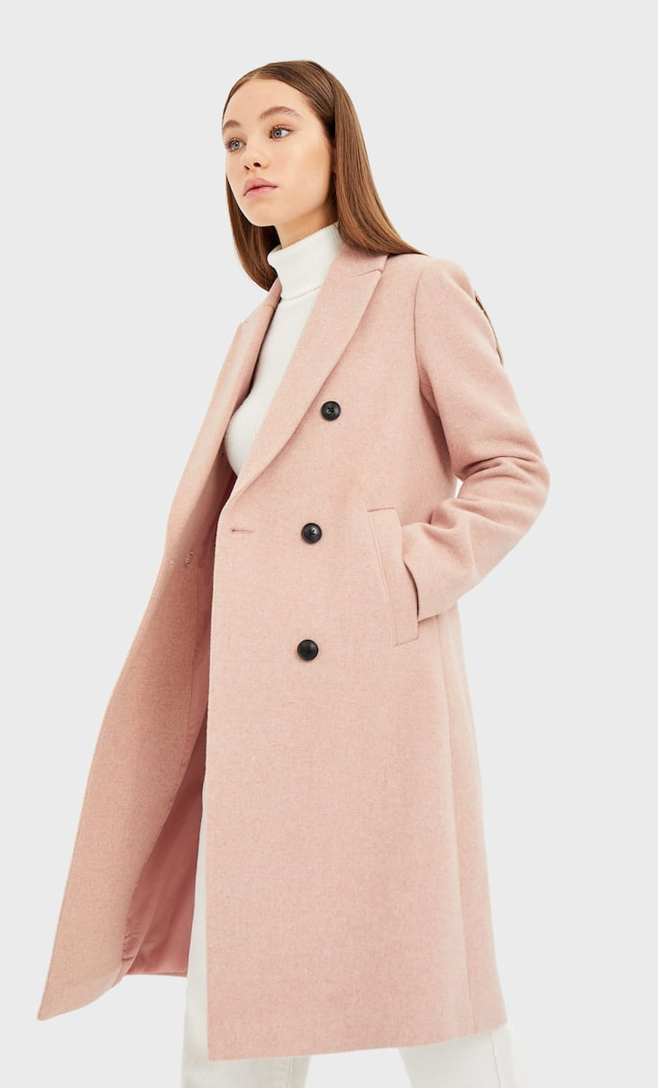 Basic synthetic wool coat