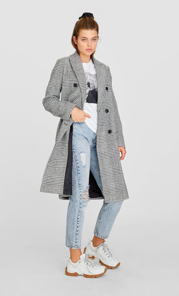 Manteau drap carreaux