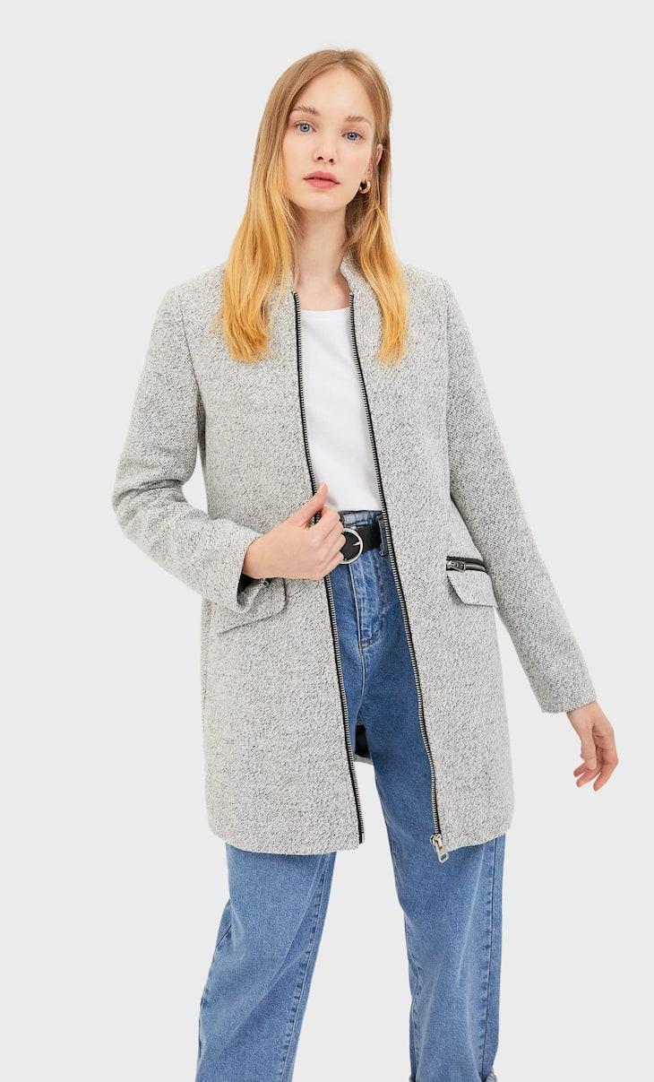 Palton point coupé cu fermoar