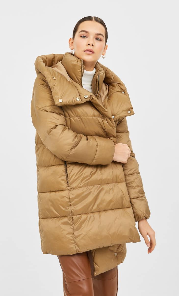 Palton padding cu guler dublu